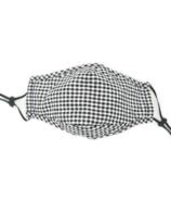 Keep Leaf 3D Cotton Face Mask Black + White Plaid