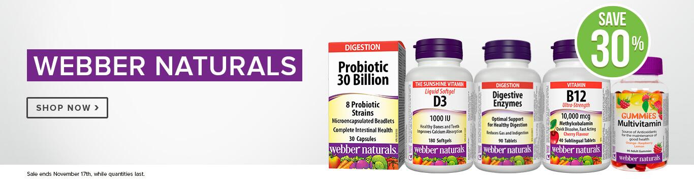 Save 30% on Webber Naturals Vitamins & Supplements