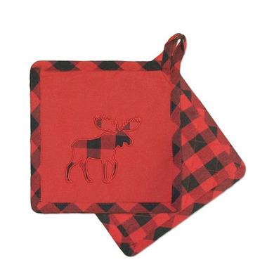 Domay Buffalo Check Moose Pot Holder Set
