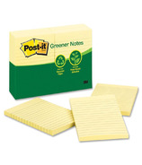 Post-it 100% Recycled Lined Notes Yellow