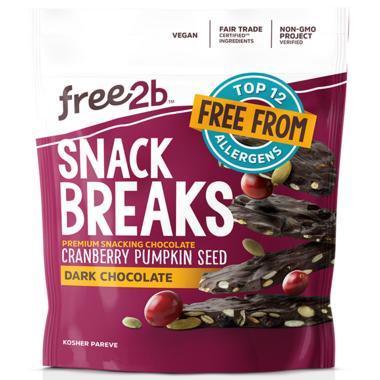 Free2b Snack Breaks Dark Chocolate Pumpkin Seeds & Dried Cranberries Crunch
