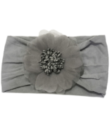 Baby Wisp Headband Nylon Flower Grey