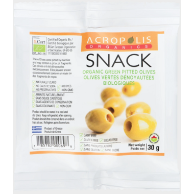 Acropolis Organics Green Pitted Olives Snack Pack