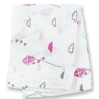 Lulujo Baby Bamboo Muslin Wrap Pink Kites