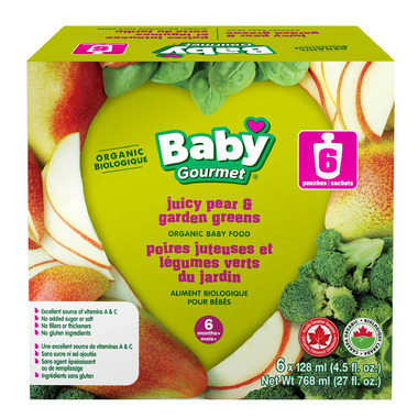 Baby Gourmet Juicy Pear & Garden Greens Purees 6 Pack