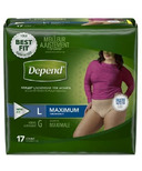 Depend FIT-FLEX Incontinence Underwear for Women Maximum Absorbency Large