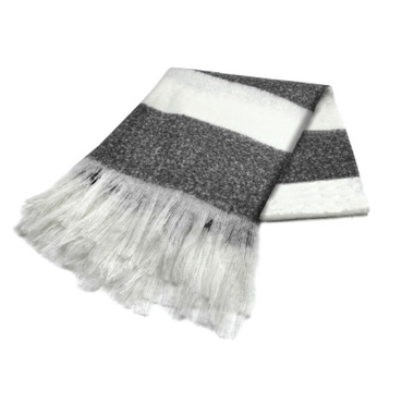 Harman Bold Stripe Faux Mohair Throw Black