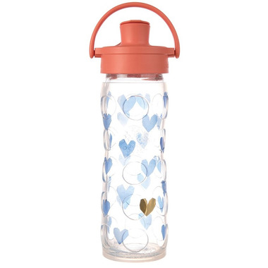 Lifefactory Glass Bottle with Active Flip Cap & Silicone Sleeve Blue Crush