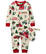 Little Blue House Infant Coverall & Hat Country Christmas