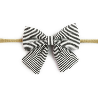 Baby Wisp Headband Charcoal & White Stripe