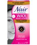 Nair Wax Ready Strips For Face & Bikini With Rice Bran Oil