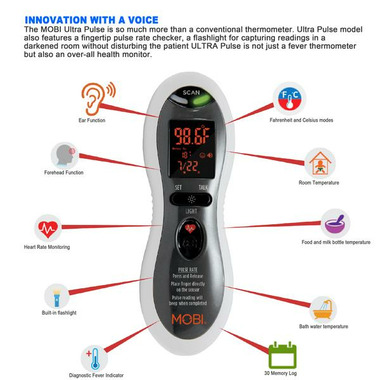 Mobi Ultra Pulse Talking Ear, Forehead & Pulse Rate Thermometer