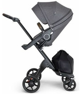 Stokke Xplory Black Chassis & Stroller Seat Black Melange with Brown Handle