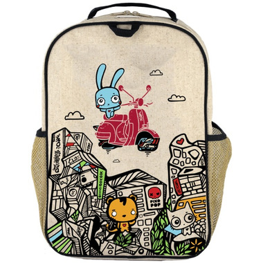 SoYoung x Pixopop Raw Linen Stitch Time Traveller Grade School Backpack