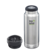Klean Kanteen TKWide Brushed Stainless Bottle + Cafe Cap Bundle