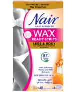 Nair Wax Ready Strips pour les jambes & Corps avec du lait et du miel