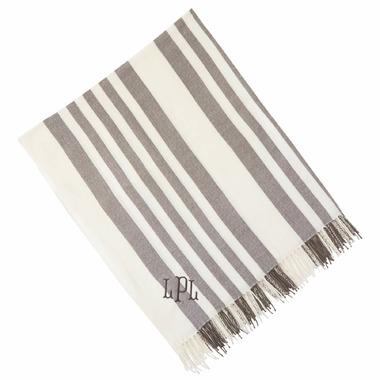 Mud Pie Gray Stripe Throw Blanket