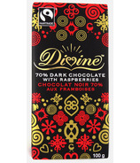 Divine Chocolate Fair Trade 70% Dark Chocolate with Raspberry