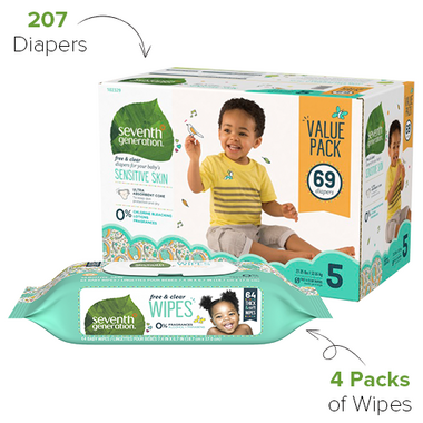Seventh Generation Diaper & Wipes Bundle Size 5