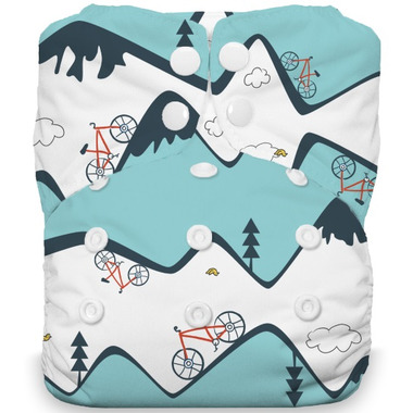 Thirsties Natural One Size All in One Snap Diaper Mountain Bike