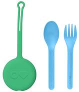 OmieLife Fork Spoon + Pod Set Mint Green