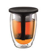 Bodum TEA FOR ONE Double Wall Glass & Tea Stainer Black
