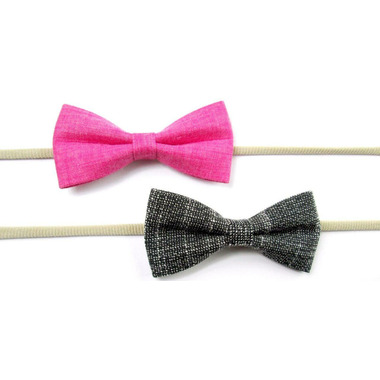 Baby Wisp Fabric Tuxedo Bow Headband Black Fuschia