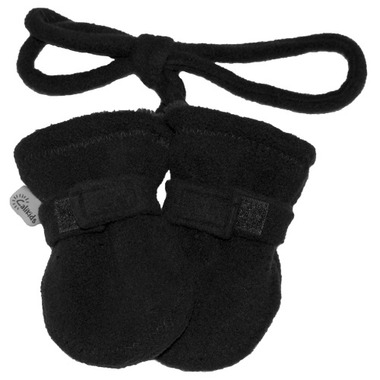Calikids Baby No Thumb Mitts with String Black