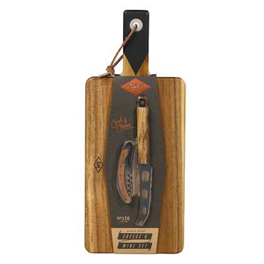 Gentlemen\'s Hardware Cheese Board & Knife Set with Wine Opener