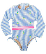 Shade Critters One Piece Rashguard Blue Pinstripe & Embroidered Pineapples