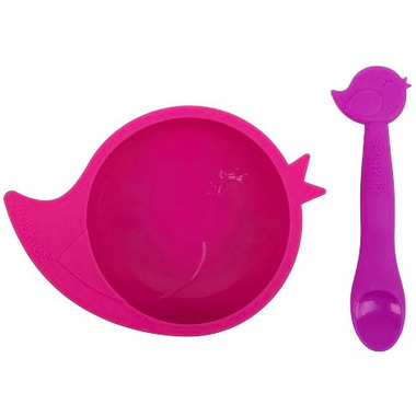 Kushies SiliBowl Silicone Bowl and Spoon Set Birdie