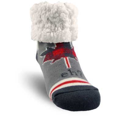 Pudus Classic Slipper Sock Canada Grey Eh?