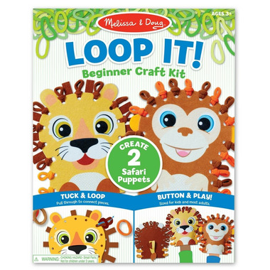Melissa & Doug Loop It! Beginner Craft Kit - Safari Puppets