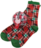 Little Blue House Women's Socks in Ornament Holiday Moose on Plaid