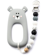 Little Cheeks Bear Silicone Teether and Pacifier Clip Grey