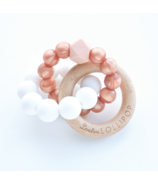 Loulou Lollipop Trinity Silicon and Wood Teether Rose Gold