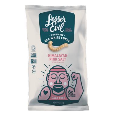 LesserEvil Grain Free Egg White Curls Himalayan Pink Salt