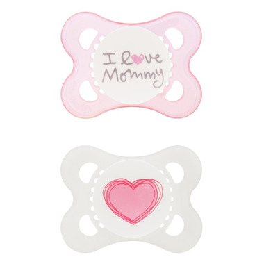 Mam Silicone Love & Affection Pacifier I Love Mommy Pink
