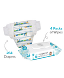 The Honest Company Trains Print Diapers & Wipes Bundle Size 1