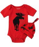 Hatley Moose on Red Baby Bodysuit & Hat