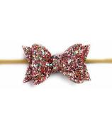Baby Wisp Glitter Bow Headband Light Pink
