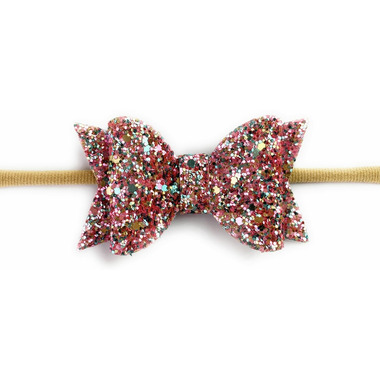 Baby Wisp Glitter Bow Headband Light Pink