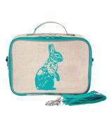 SoYoung Raw Linen Aqua Bunny Lunch Box
