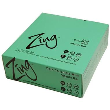 Zing Bars Dark Chocolate Mint Nutrition Bars