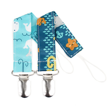 Bumkins Pacifier Clip Sea Friends and Whales