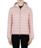 Save The Duck Womens Faux Sheepskin Hooded Jacket Blush Pink