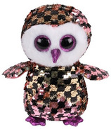 Ty Flippables Checks the Sequin Pink & Gold Owl Regular
