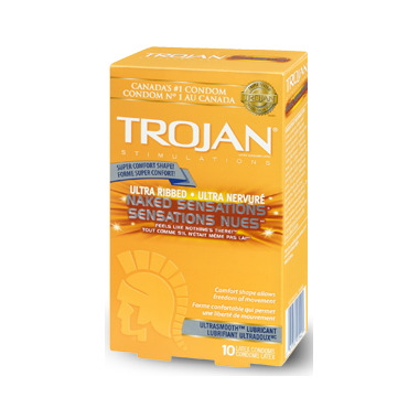 Trojan Naked Sensations Ultra Ribbed Lubricated Condoms