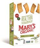 Mary's Organic Crackers Real Thin Garlic Rosemary Crackers