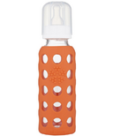 Lifefactory Glass Baby Bottle with Silicone Sleeve Papaya